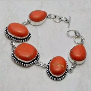 Red Turquoise 925 Silver Bracelet